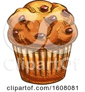 Clipart Of A Sketched Muffin Royalty Free Vector Illustration