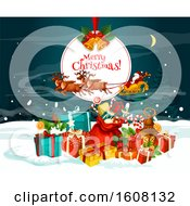Clipart Of A Merry Christmas Greeting With Santas Sleigh Royalty Free Vector Illustration
