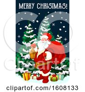 Clipart Of A Merry Christmas Greeting With Santa Royalty Free Vector Illustration