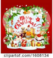 Merry Christmas Greeting With Toys And Gifts