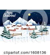 Merry Christmas Greeting With A Village