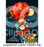 Clipart Of A Merry Christmas Greeting With Santa In A Hot Air Balloon Royalty Free Vector Illustration