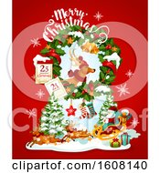 Clipart Of A Merry Christmas Greeting With Santa And A Reindeer Royalty Free Vector Illustration