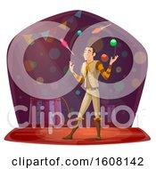 Clipart Of A Performing Circus Juggler Royalty Free Vector Illustration