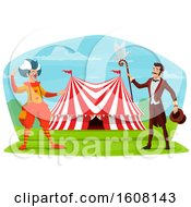 Clipart Of A Performing Circus Clown And Ringmaster Royalty Free Vector Illustration by Vector Tradition SM
