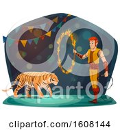 Clipart Of A Performing Tiger Trainer And Ring Of Fire Royalty Free Vector Illustration