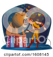 Clipart Of A Performing Lion Tamer Royalty Free Vector Illustration