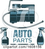 Clipart Of A Blue Auto Parts Design Royalty Free Vector Illustration