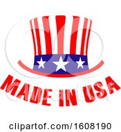 Poster, Art Print Of Made In The Usa Design With A Top Hat