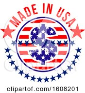 Clipart Of A Made In The Usa Design With A Dolalr Sign Royalty Free Vector Illustration