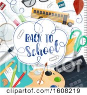 Clipart Of A Back To School Design With Supplies On Graph Paper Royalty Free Vector Illustration