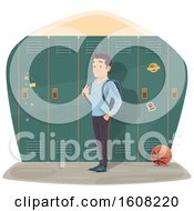 Poster, Art Print Of Male High School Student By Lockers