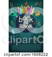 Poster, Art Print Of Back To School Design With Pencils Paperclips And Supplies