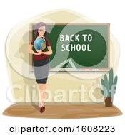 Clipart Of A Teacher Holding A Globe By A Back To School Chalkboard Royalty Free Vector Illustration
