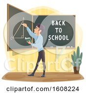 Clipart Of A Male High School Student Writing On A Chalkboard Royalty Free Vector Illustration