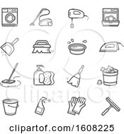 Clipart Of Cleaning Icons Royalty Free Vector Illustration