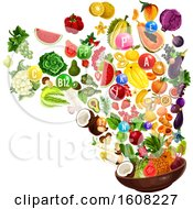 Clipart Of A Colorful Diet With Vitamin Bubbles And Food Royalty Free Vector Illustration by Vector Tradition SM