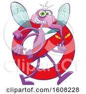 Cartoon Mischievous Mosquito In A Stop Prohibited Symbol