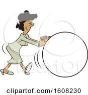Clipart Of A Cartoon Black Business Woman Getting The Ball Rolling Royalty Free Vector Illustration