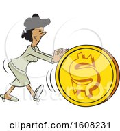 Clipart Of A Cartoon Black Business Woman Getting The Ball Rolling Pushing A Dollar Coin Ball Royalty Free Vector Illustration