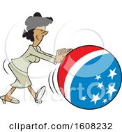 Clipart Of A Cartoon Black Business Woman Getting The Ball Rolling With An American Theme Royalty Free Vector Illustration