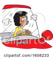 Cartoon Angry Black Female Driver Stuck In A Traffic Jam