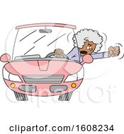 Cartoon Black Senior Female Driver With Road Rage Waving Her Fist Out Of The Window