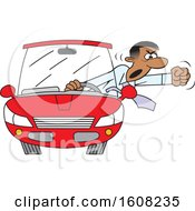 Cartoon Black Male Driver With Road Rage Waving His Fist Out Of His Window