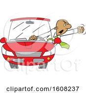 Cartoon Black Male Senior Driver With Road Rage Waving His Fist Out Of His Window