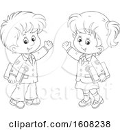 Clipart Of A Lineart School Boy And Girl Waving And Holding Books Royalty Free Vector Illustration
