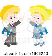 Clipart Of A School Boy And Girl Waving And Holding Books Royalty Free Vector Illustration
