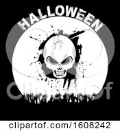 Clipart Of A Halloween Silhouette Background With Skull Cheering Hands And Decorative Text Royalty Free Vector Illustration