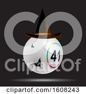Clipart Of A 3D White Bingo Lottery Ball With Halloween Hat And Bats Over Black Background Royalty Free Vector Illustration