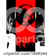 Clipart Of A Halloween Black Background With Red Panel And Silhouette Of Cemetery Creepy Trees Moon And Bats Royalty Free Vector Illustration