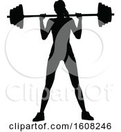 Clipart Of A Silhouetted Woman Working Out And Doing Squats With A Barbell Royalty Free Vector Illustration
