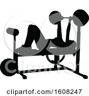 Clipart Of A Silhouetted Woman Working Out On A Bench Press Royalty Free Vector Illustration