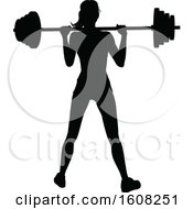 Clipart Of A Silhouetted Woman Working Out With A Barbell Royalty Free Vector Illustration