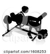 Clipart Of A Silhouetted Woman Working Out On A Bench Press With A Shadow On A White Background Royalty Free Vector Illustration