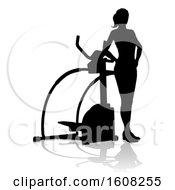 Clipart Of A Silhouetted Woman By A Stair Stepper With A Shadow On A White Background Royalty Free Vector Illustration