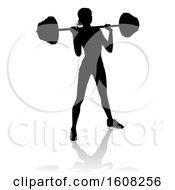 Silhouetted Woman Working Out With A Barbell With A Shadow On A White Background