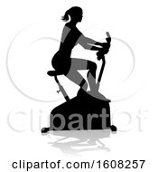 Clipart Of A Silhouetted Woman Working Out And Exercising On A Stationary Bike With A Shadow On A White Bcakground Royalty Free Vector Illustration