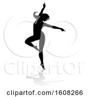Clipart Of A Silhouetted Sexy Pole Dancer Woman With A Shadow On A White Background Royalty Free Vector Illustration