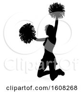 Clipart Of A Silhouetted Cheerleader With A Reflection Or Shadow On A White Background Royalty Free Vector Illustration