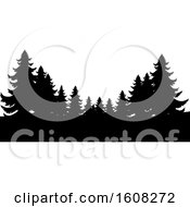 Clipart Of Silhouetted Evergreen Trees Royalty Free Vector Illustration