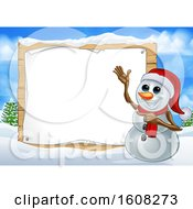 Happy Snowman Wearing A Christmas Santa Hat By A Blank Sign In A Winter Landscape