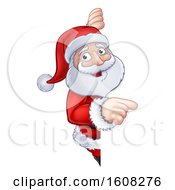 Christmas Santa Claus Pointing Around A Sign