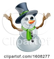 Clipart Of A Welcoming Christmas Snowman Wearing A Green Scarf And A Top Hat Royalty Free Vector Illustration