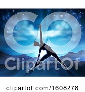 Clipart Of A Silhouetted Woman In A Yoga Or Pilates Position With The Sunrise Behind Her Royalty Free Vector Illustration