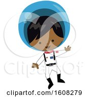 Clipart Of A Happy Black Astronaut Boy Floating In A Space Suit Royalty Free Vector Illustration