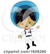 Clipart Of A Happy Asian Astronaut Boy Floating In A Space Suit Royalty Free Vector Illustration